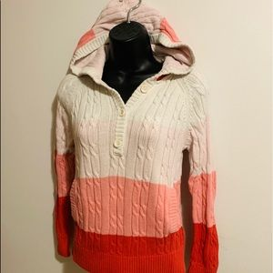 Cable knit pink tone sweater